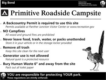 Roadside Campsites Regulations Sign
