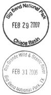 Passport stamps available at the Chisos Basin