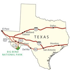 State map showing highway routes to and from Big Bend National Park.