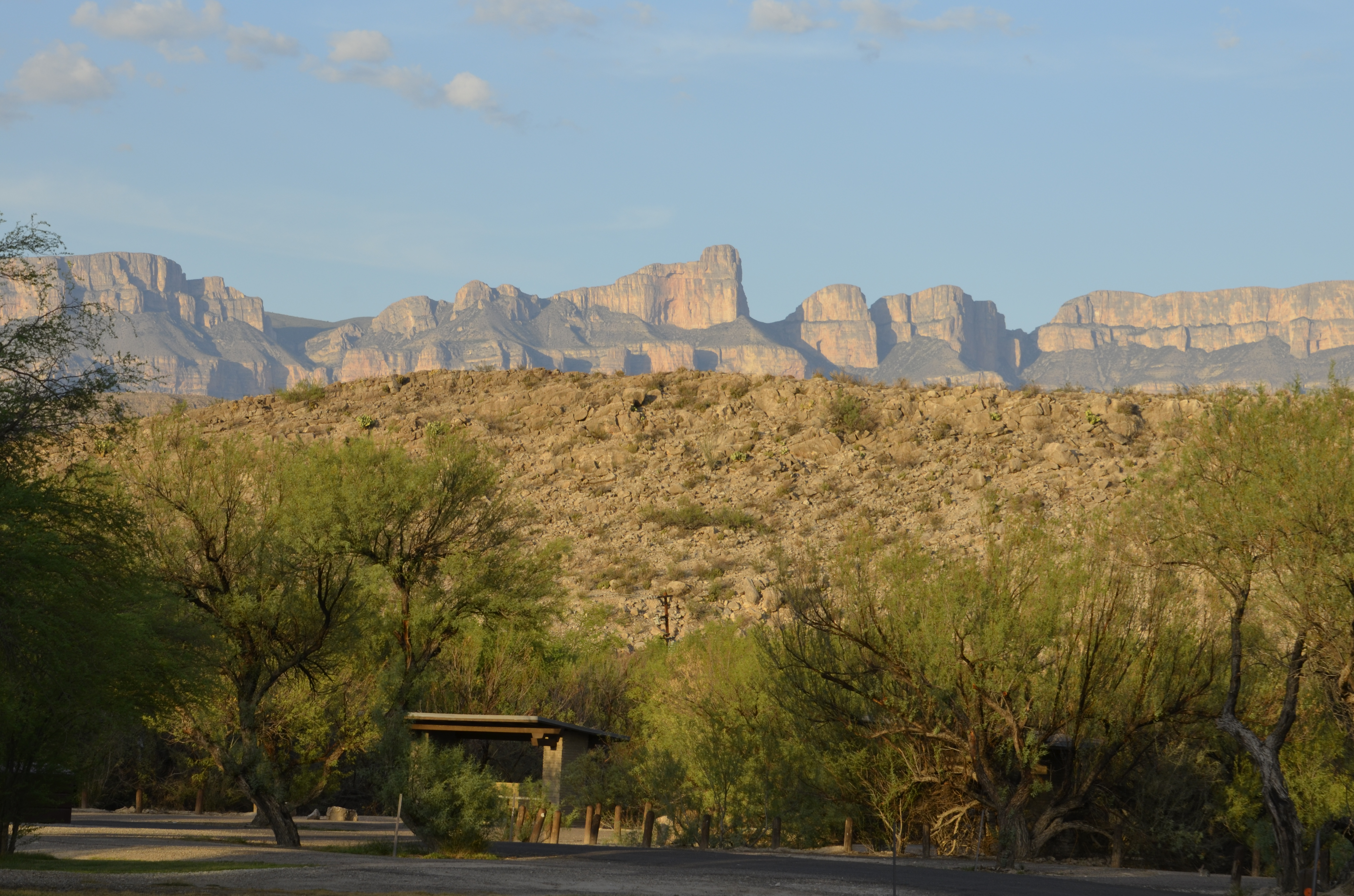 A view of the Sierra del Carmen from the RGV campground.