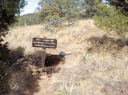 Closure sign near the Boot Canyon Trail junction