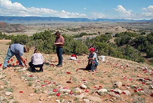 Field school students map tipi ring at the Two Eagles site, Bighorn Canyon NRA.