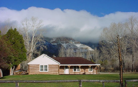 Spring at the Ewing-Snell ranch with the snow dusted Pryor Mountains in the background