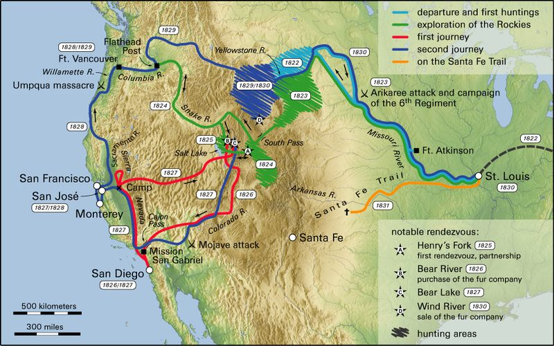 Map of Jedediah's Smith Explorations of the West