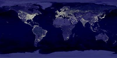 View of the earth from space at night, showing the distribution of light pollution