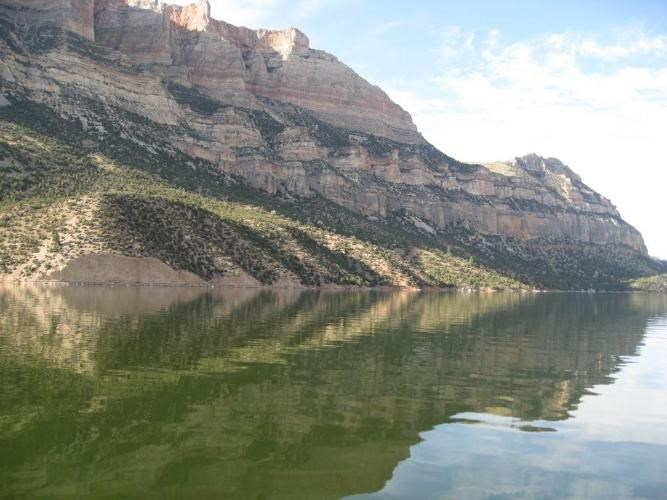 Bighorn Lake and the canyon create a stunning reflection