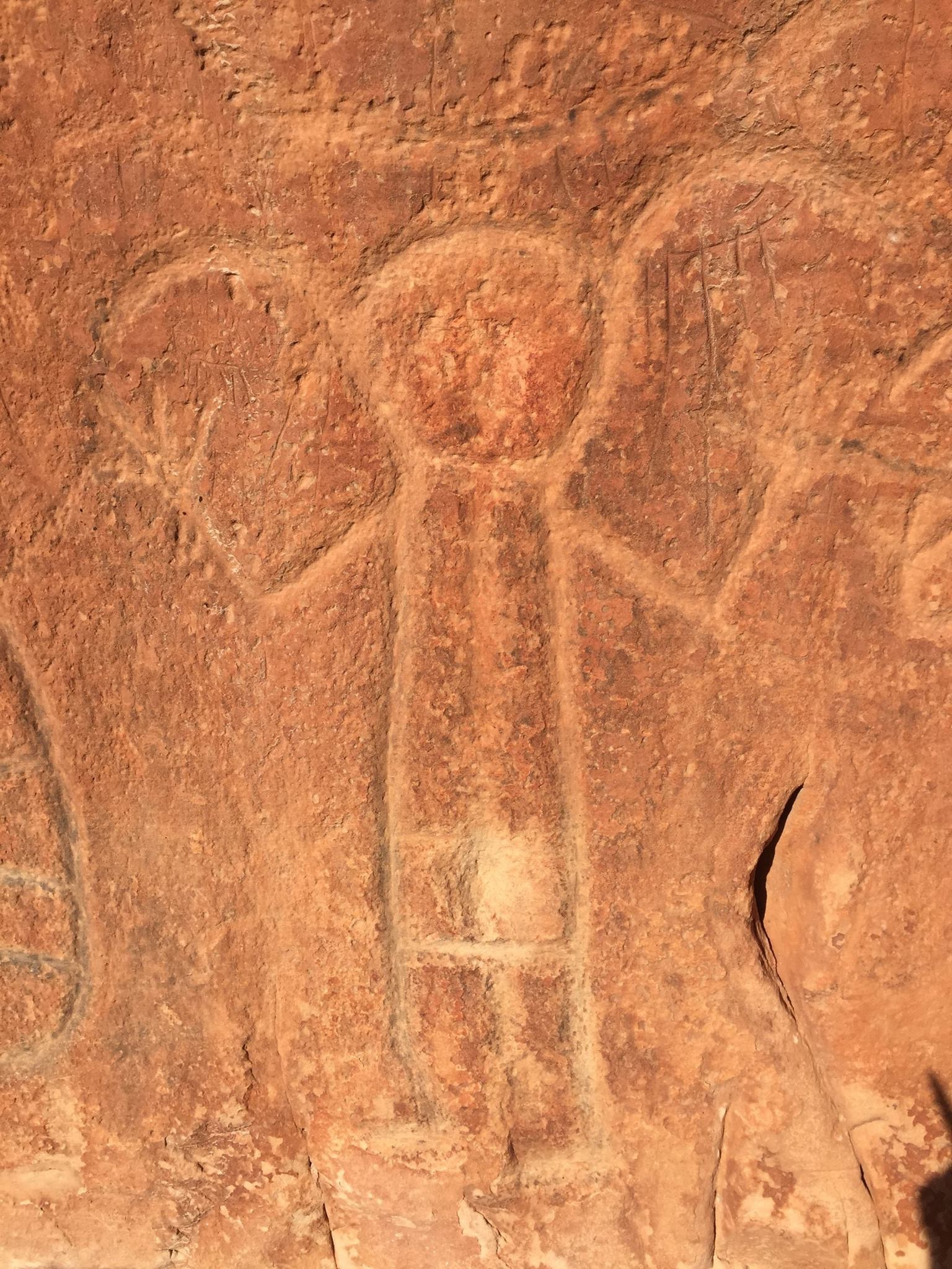 Petroglyph of a human at Medicine Lodge State Park.