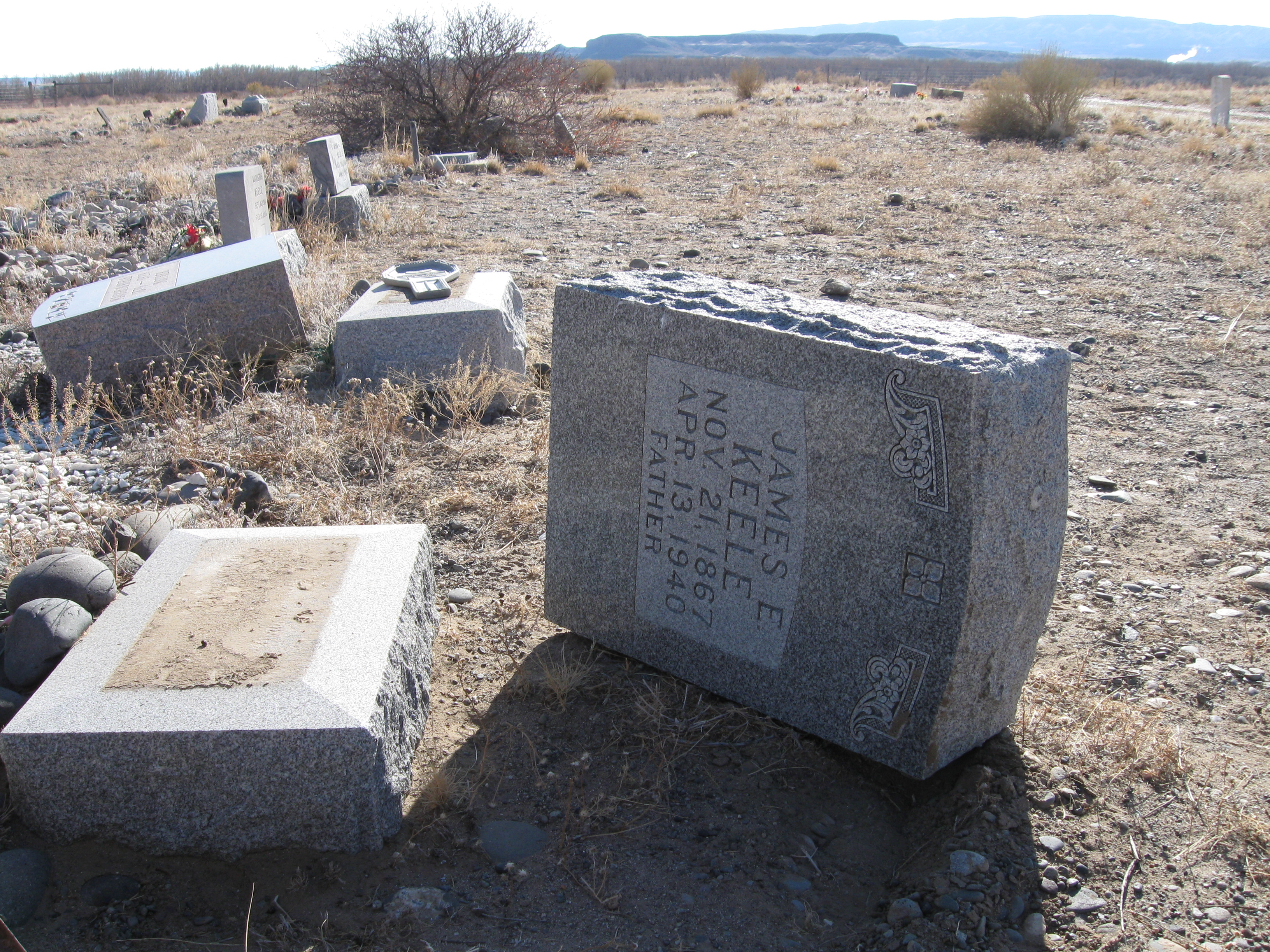 Headstones pushed over as part of the Kane Cemetery vandalism