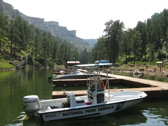 National Park Service boat docked at Black Canyon campground