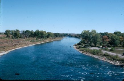 The beautiful blue waters of the Bighorn River flow northward