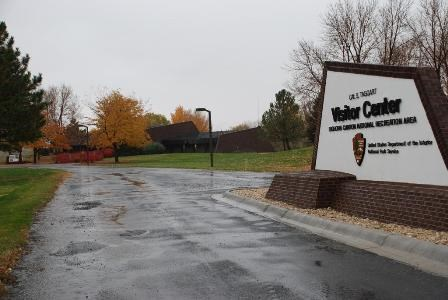 Rainy, fall day at the entrance of the Cal S. Taggart Bighorn Canyon Visitor Center