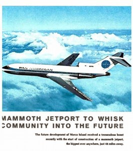 Plane in flight captioned: Mammoth Jetport to Whisk Community into the Future. The future development of Marco Island received a tremendous boost recently with the start of construction of a mammoth jetport, the biggest ever, anywhere just 48 miles away.