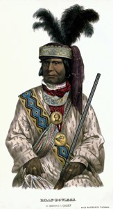 A hand drawn image of Chief Holata Micco in traditional garb.
