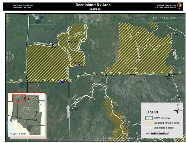 Map depicting Bear Island Unit Prescribed Fire.