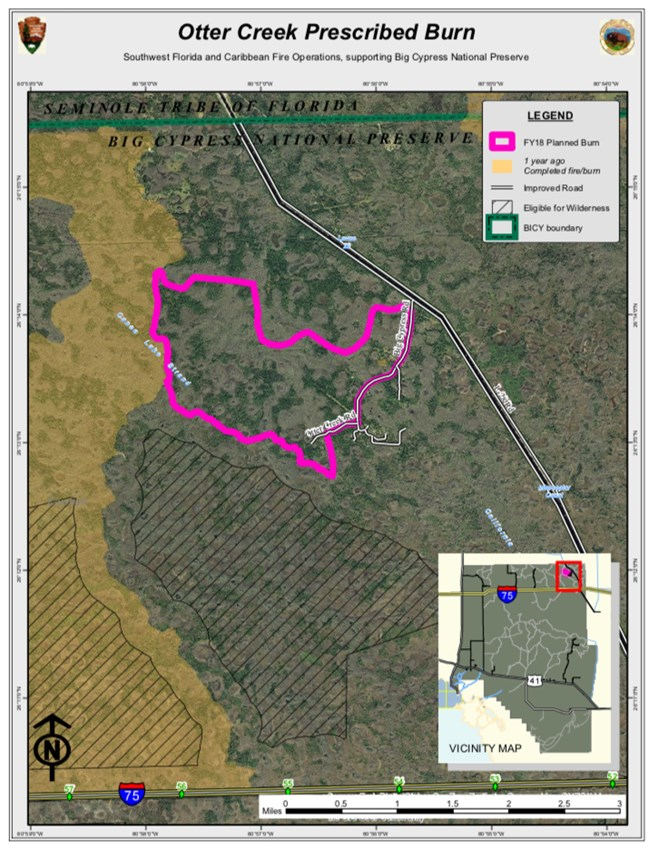 Detailed map depicting area of prescribed fire located in Addition Lands.