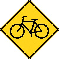 A diamond sign with an outline of a bicycle.
