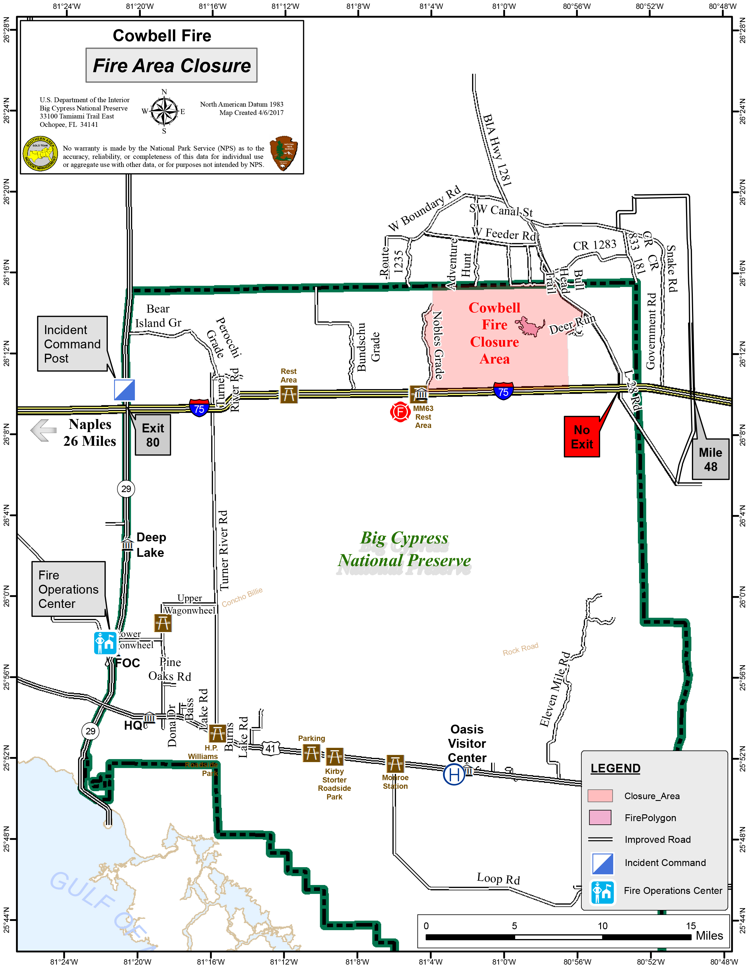 Fire Activity Big Cypress National Preserve US National - Map of us 41 in florida
