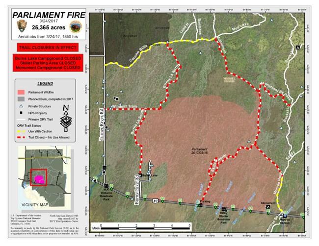 2017 Fire Activity Big Cypress National Preserve U S National