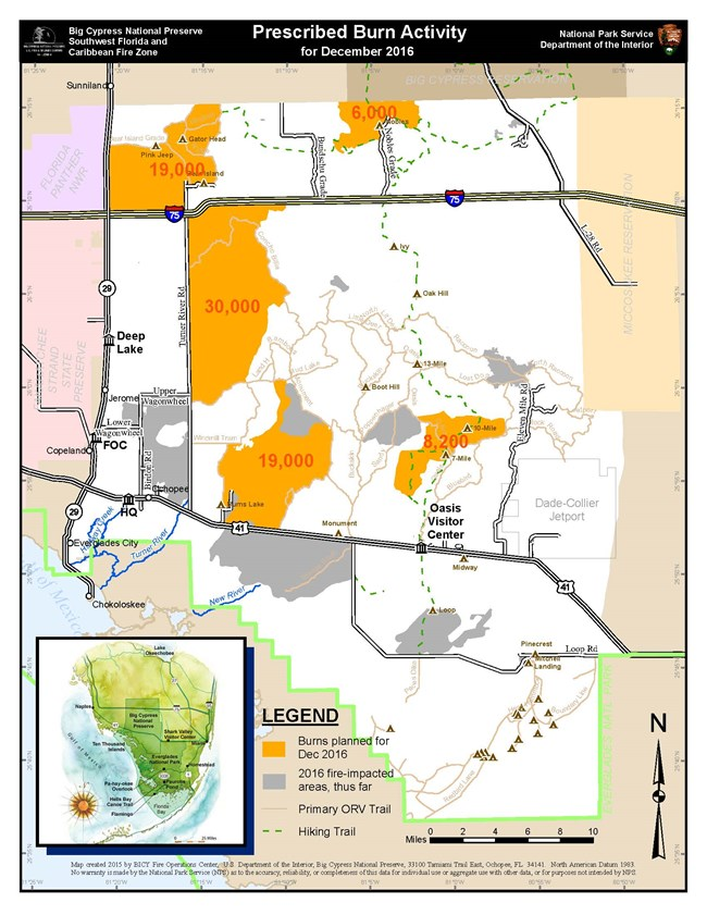 sections for prescribed fire in Big Cypress for December 2016