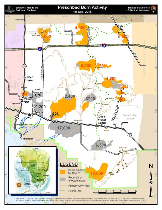 proposed prescribed burn areas in Big Cypress for September