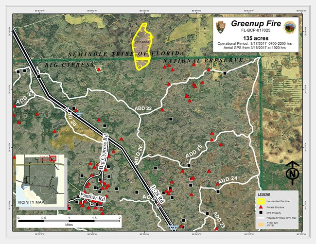 Map of fire in Big Cypress. Yellow circle around fire location.