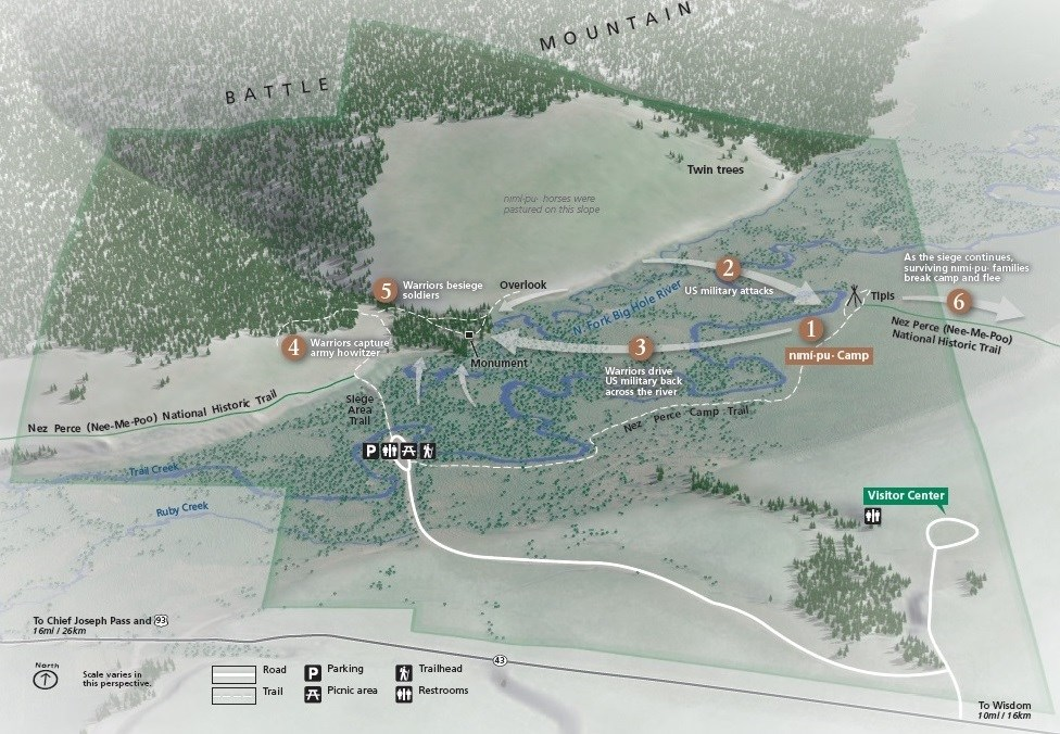 A map showcasing the different movements and events during the battle.