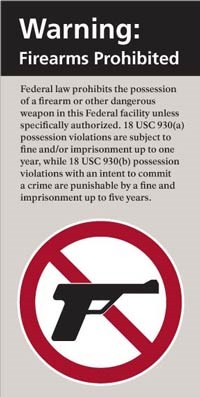 Photo of a sign found at federal facilities where firearms and other weapons are not allowed.