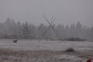 tepee poles in a blizzard