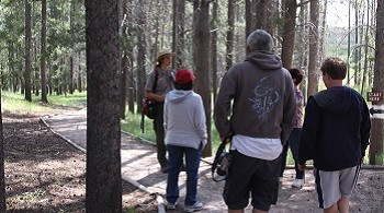 Male park ranger and four hikers on a forested trail.