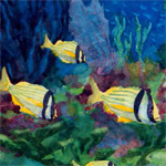 Painting of three porkfish
