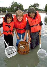 Three young girls share dipnets and a glass bottom bucket to explore the seagrass communities in the shallows of Biscayne Bay off of Elliott Key