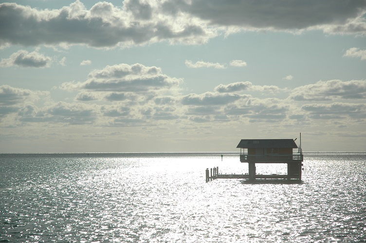 Stiltsville in sunlight