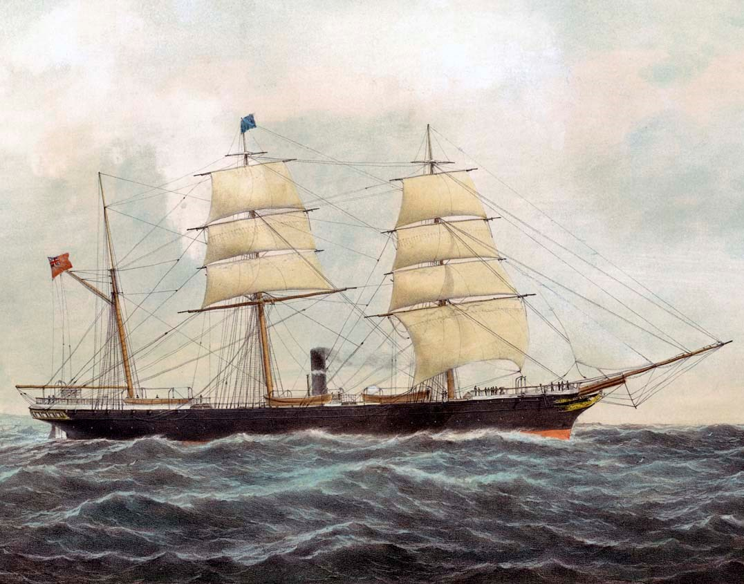 Painting of a large three-masted ship.