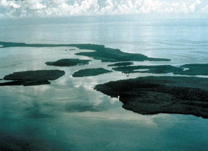 Aerial view of the park's southern Keys.