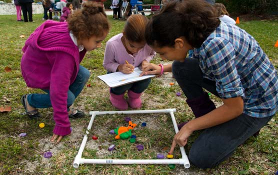 "Three girls perform a survey of ""snails"" at the February 2010 BioBlitz Family Fun Fest."