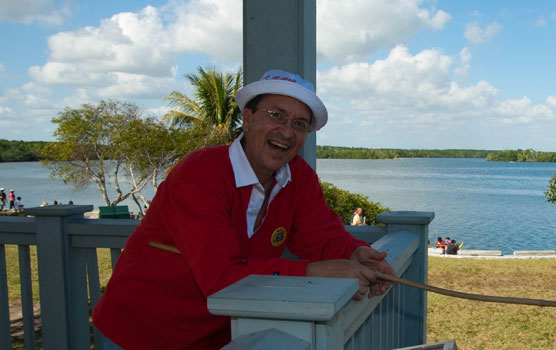 "Park Volunteer Jeff Buell dressed as TV's Gilligan for the ""Lost in the '60s"" Family Fun Fest in January, 2009."