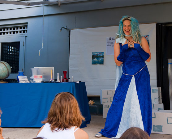 Dr. Verduga reveals her evil plans to trick humans into changing the Earth's climate at Biscayne National Park's Family Fun Fest.
