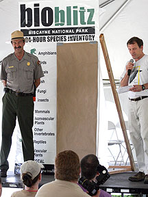 The species list being unveiled at the conclusion of the BioBlitz.