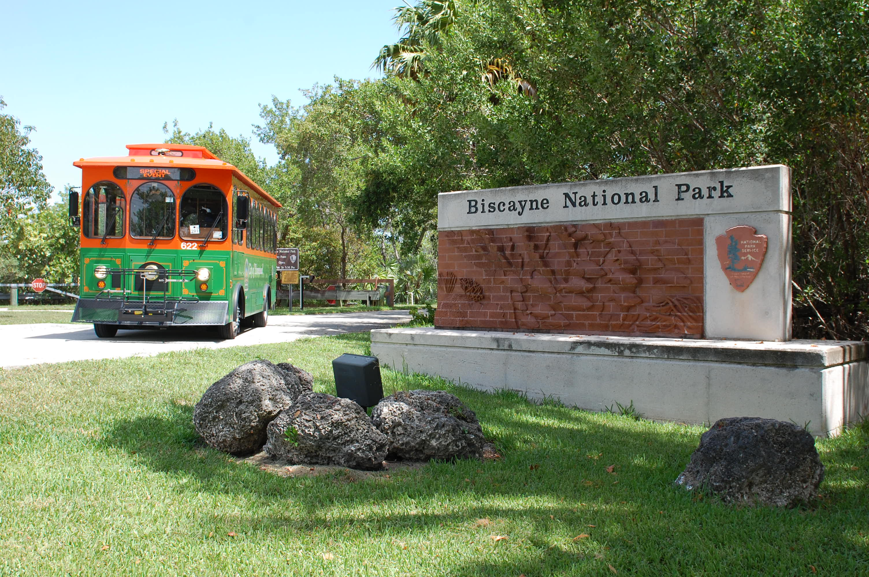 Homestead National Parks Trolley at Biscayne National Park entrance.