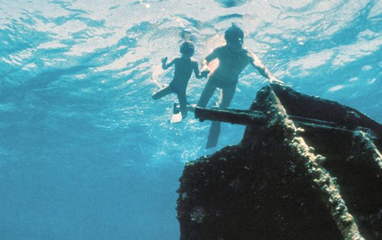 Father and son snorkel over Mandalay wreck