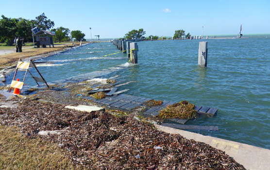 Damaged piers at Elliott Key