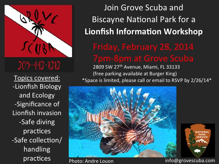 One of two lionfish workshop flyers.