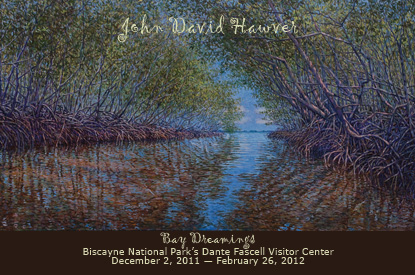 John David Hawver's painting of a mangrove tunnel looking out to the open water.