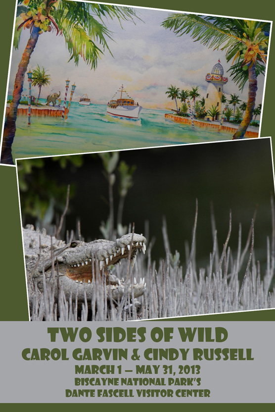 A watercolor painting of boats entering the harbor at Boca Chita Key and a photograph of a crocodile with its mouth open.