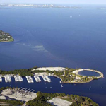 Matheson Hammock Marina from the air.