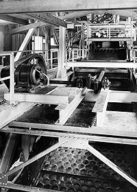 Interior of Blue Heron Tipple showing the screens used to sort coal by size.