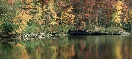 Fall colors reflect on thr Big South Fork River