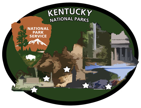 KY Pentathlon Patch with artwork of all five parks