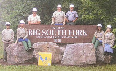 KY YCC youth standing in front of Big South Fork sign