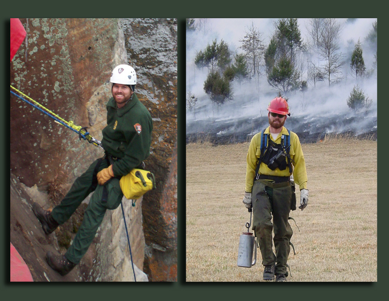 Ranger Noel Mays rappelling and fire fighting